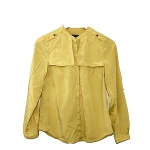 Ann Taylor 100% Silk Button Up Mustard Blouse